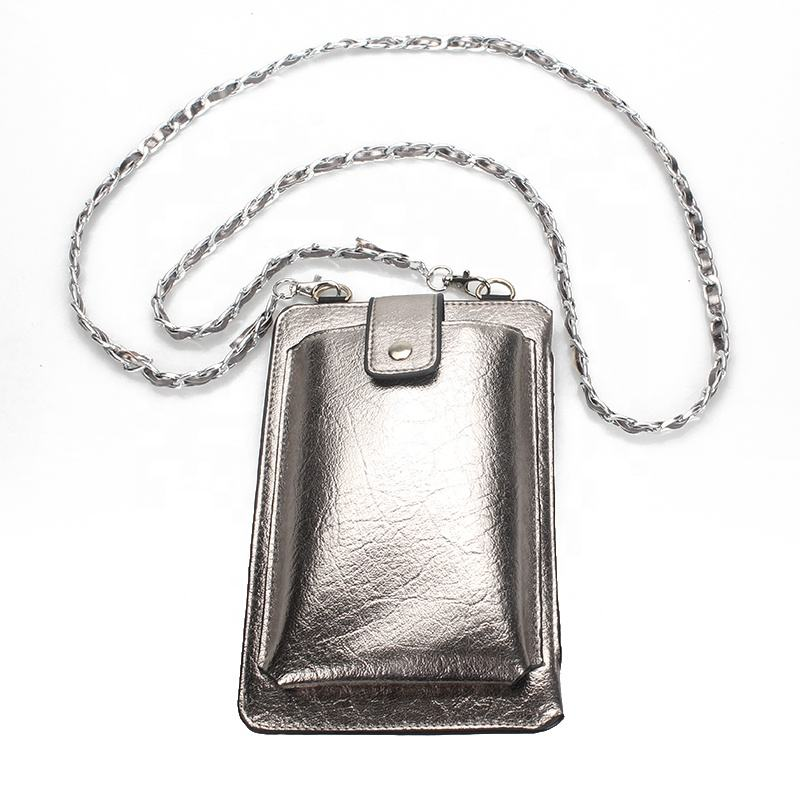 Fancy metallic mobile pouch leather multifunctional phone bag cell phone shoulder bags
