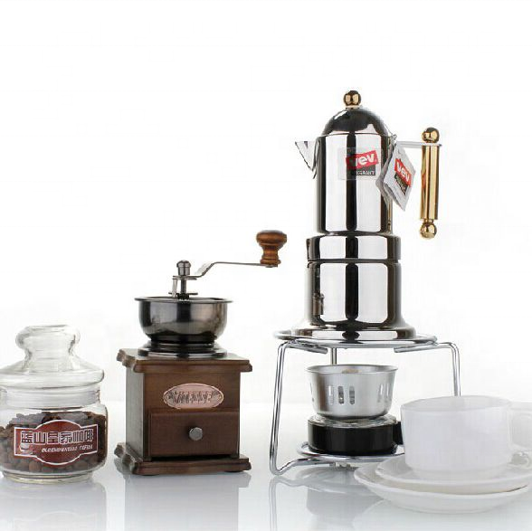 Espresso Set Coffee Gift Set Moka +2 Glass Espresso Cup+Coffee Grinder+Barrel+ Burner Best For Family Gift