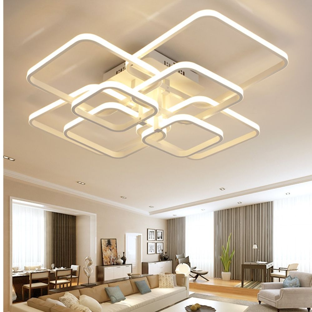 Dimmable Remote Control 8 Heads 108W LED Chandelier Acrylic Lights For Living Room Ceiling Lamp