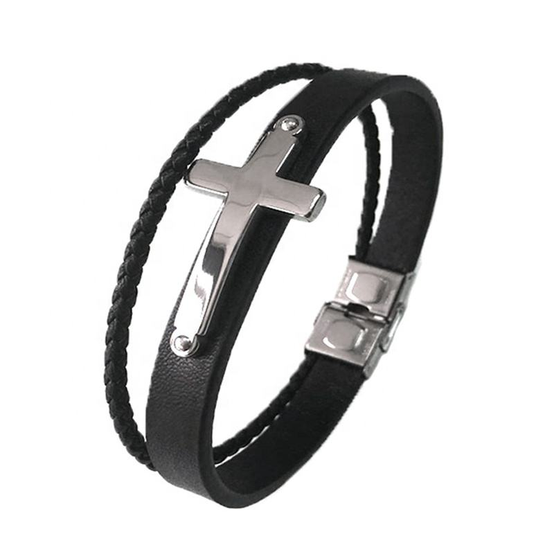 Stainless steel buckle Braided Leather Bracelets Friend Gift Christ Guitar Casual Black Handmade Leather Cross Bracelet for Men