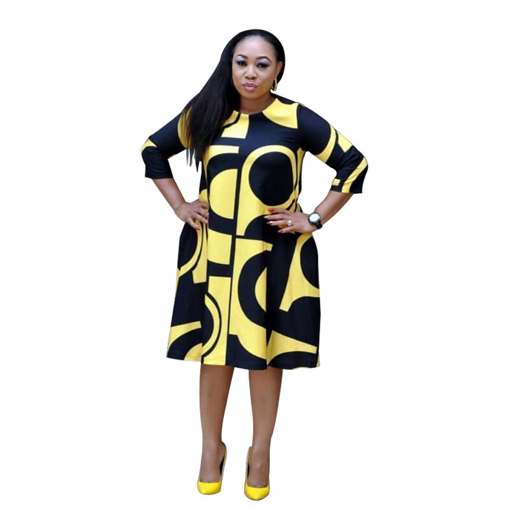 2019 New Plus Size Dashiki Dress Woman Oversized Fashion Print Dress With Pocket