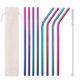 8 Piece Eco Friendly Colored Stainless Steel Drinking Straws With Silicone Tips Set
