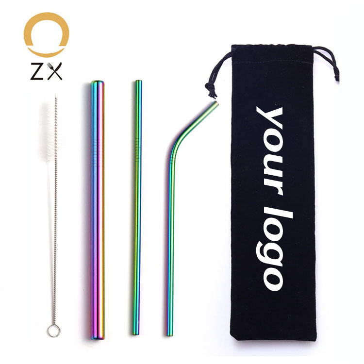 stainless steel metal inox custom reusable bubble tea boba straw with case
