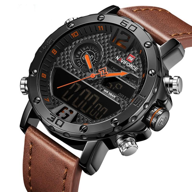 Mens Watches Top Luxury Brand Men Leather Sports Watches 9134 NAVIFORCE Men's Quartz LED Digital Clock Waterproof Military Watch
