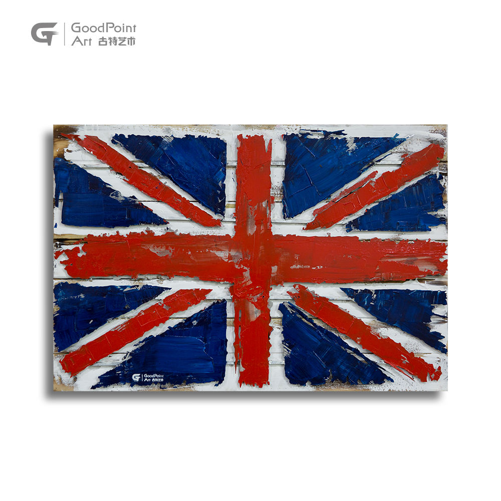 Wooden home decor acrylic wall picture frames 3D metal crafts England flag art work