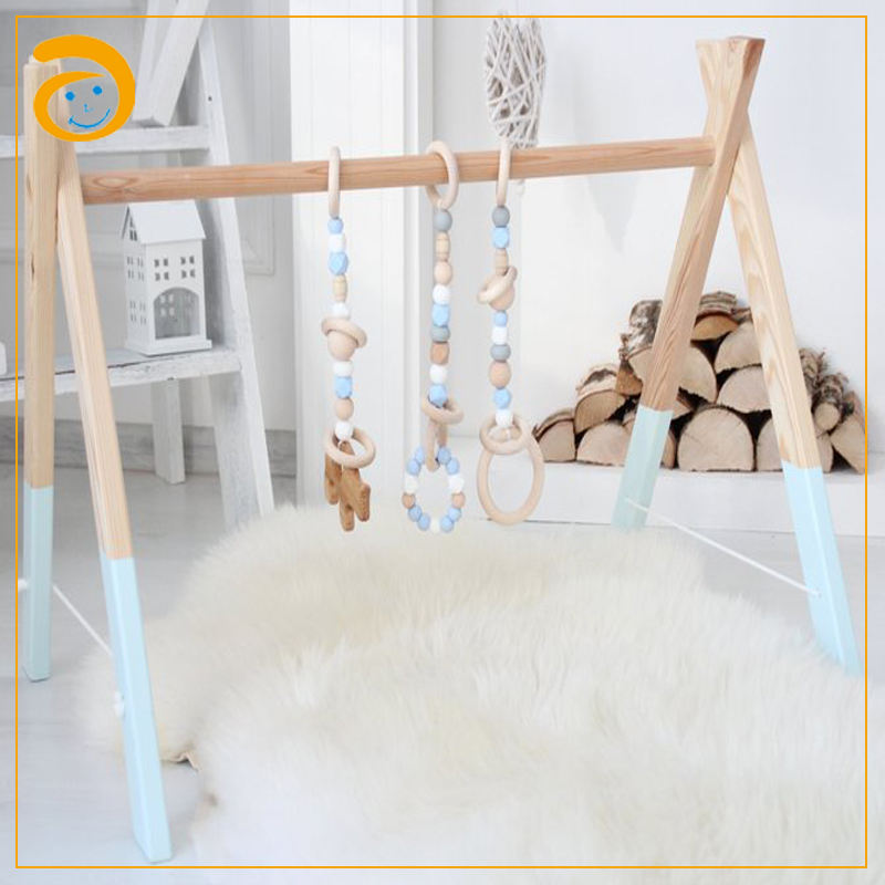 Natural Beech Wood Play Gym Fram Baby Wooden Play Gym Activity Center