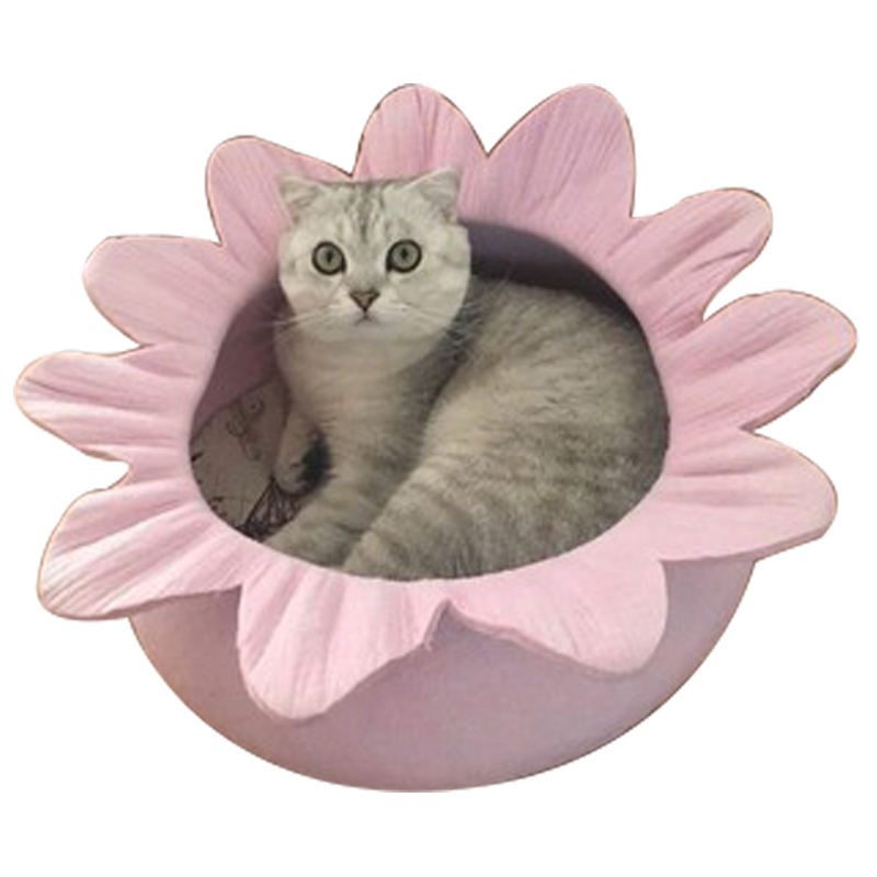 Eco-friendly Fashion Soft Pet Cat Bed 100% Cotton Round Flower Shape Cute Cat Bed Indoor
