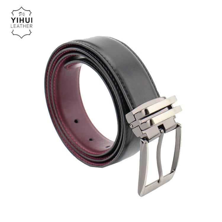 2019 Modern Design Style Customized Man Genuine Leather Men Flat Strap Stitching Double Face Belt
