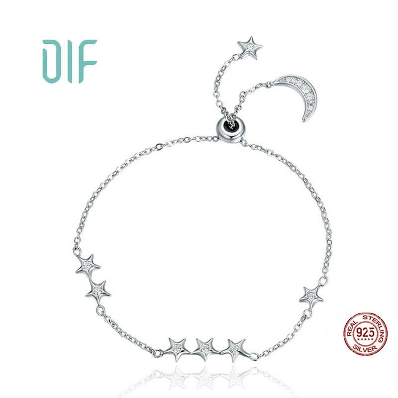 Plata 925 Pulsera Moon And Star Jewelry Bracelet Sterling Silver 925 Women Bracelet