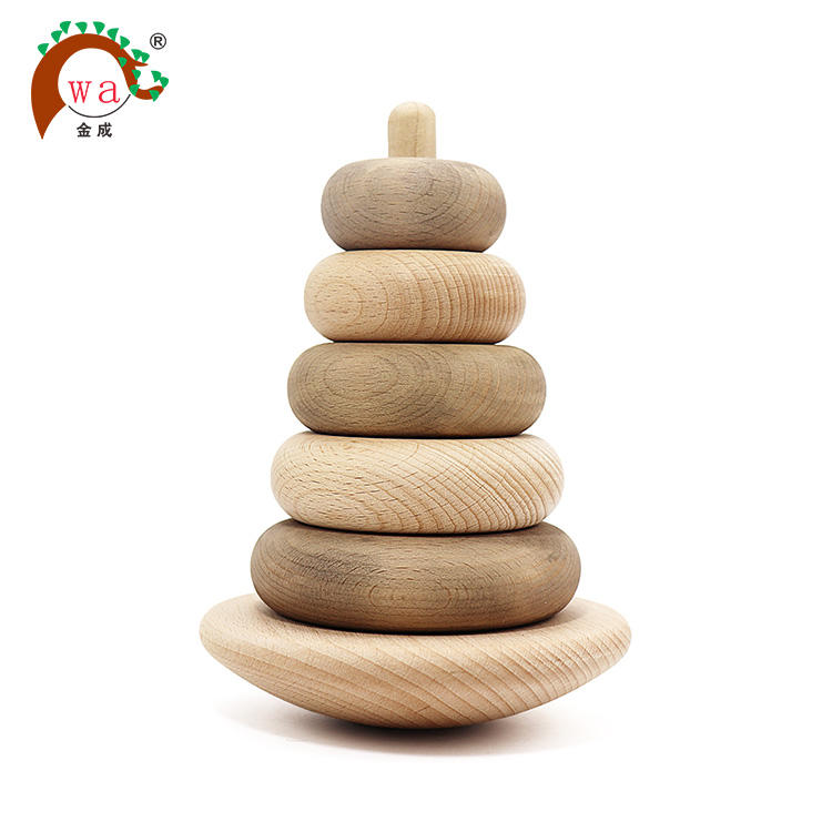 Natural Wooden Stacking Rings Organic Kids Stracker Toy