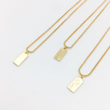 Womens Personalized Custom Initial Gold Bar Pendant Necklace