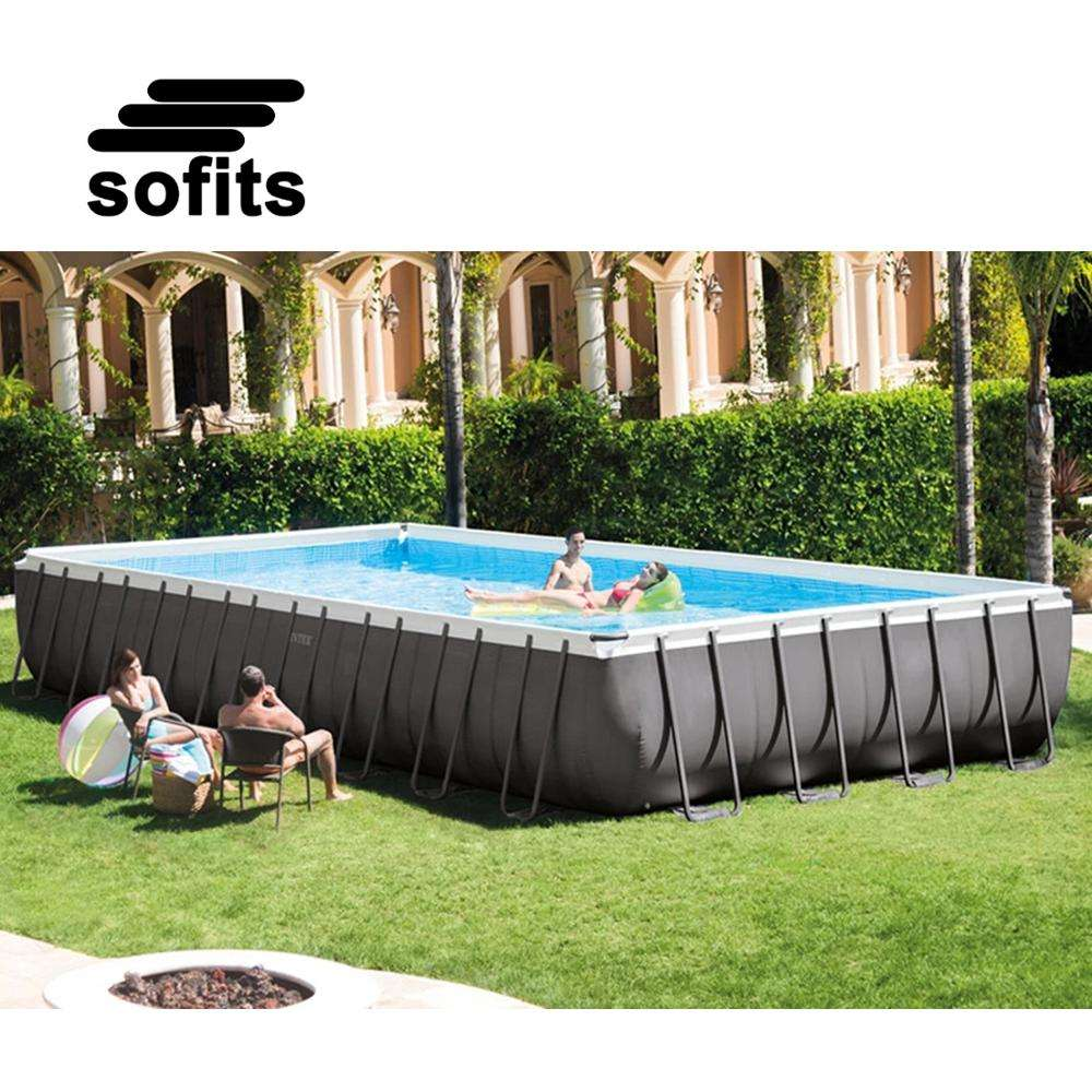 Ready to Ship Intex Original 26352 Ultra Frame Rectangular Set Above Ground PVC Swimming Pool