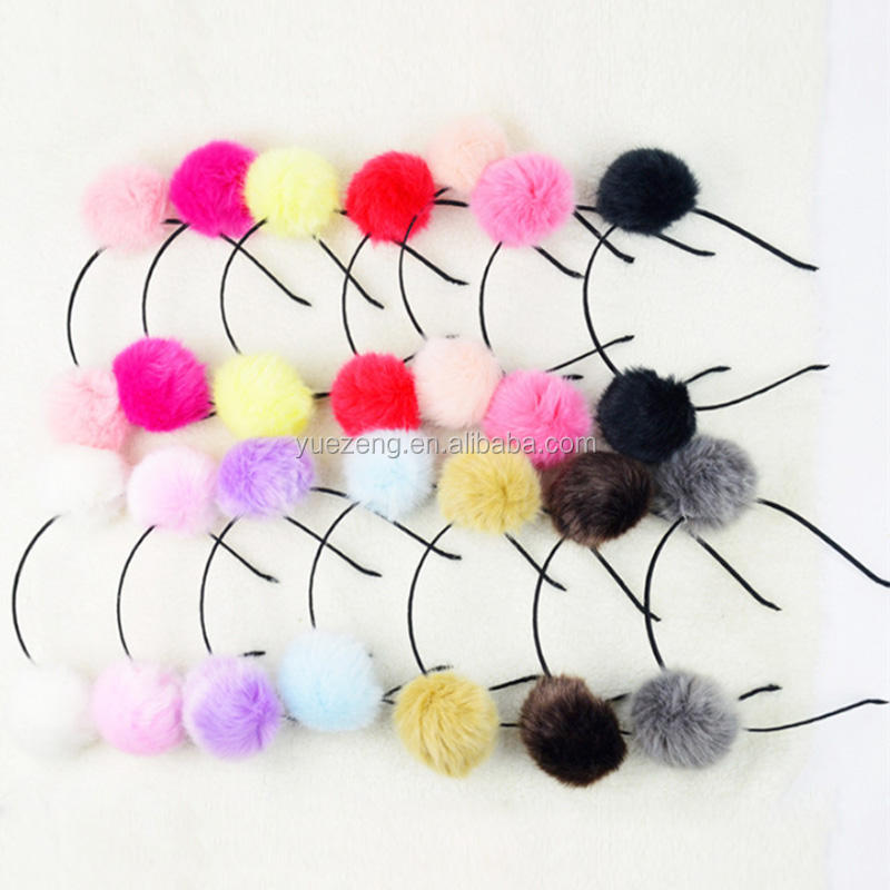 Head Hoop fox fur pom Wholesale hair band with fur poms