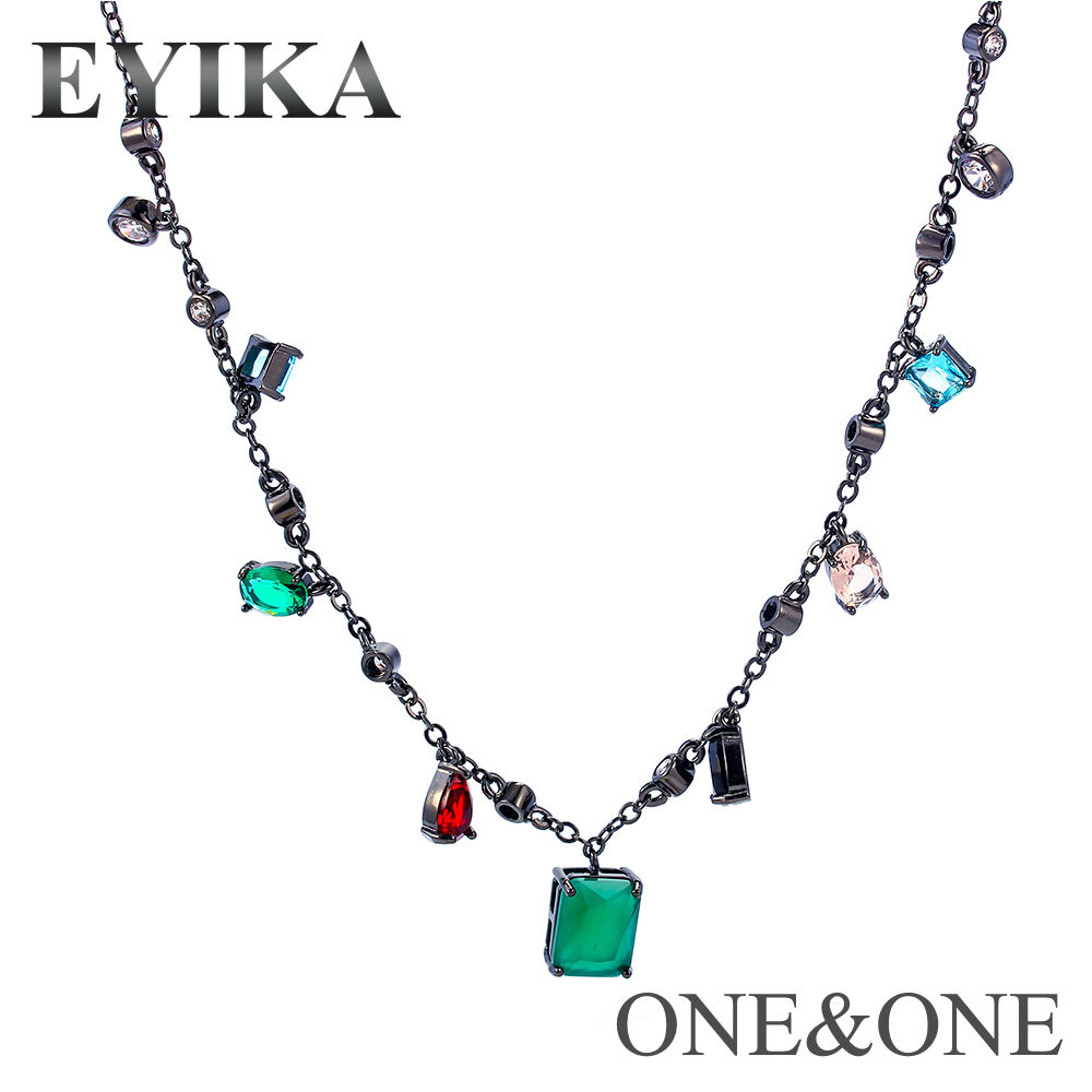 Necklace auctions free shipping with Mix color Fusion Stone Pendant Brinco Necklace for Party