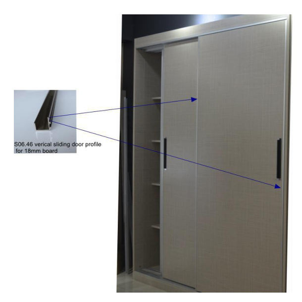 Closet Sliding Door Wardrobe for 18mm Board with Handle Profile