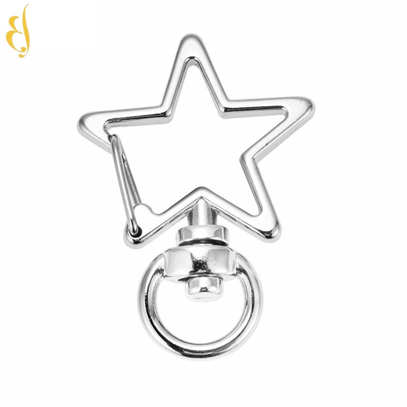 rainbow multicolor metal purse key chain clip ring spring hook dog buckle metal jewelry pendant diy hook buckle star keychain