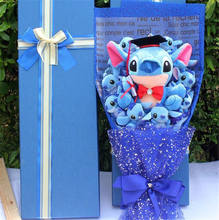 2019 new style Custom Plush Toys Handmade Plush Toys Stitch Festivals Gift Bouquet with Artificial Flowers