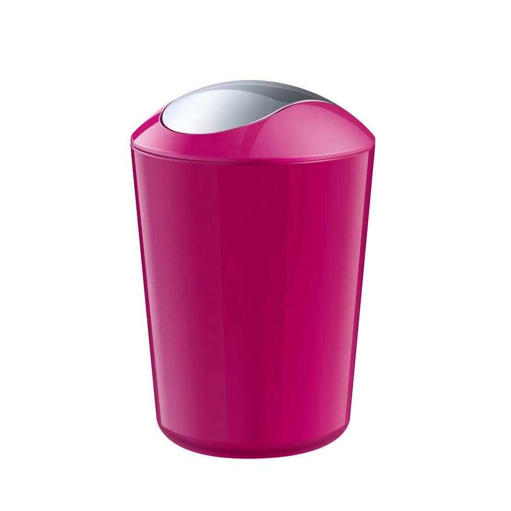 household white pink color open top plastic mini trash can waste bin