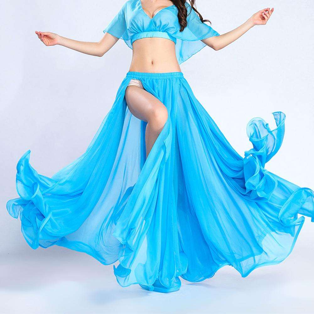 BestDance Belly Dance Swing Fringe Side Slit Skirt Costumes Full Circle Long Skirt Dress