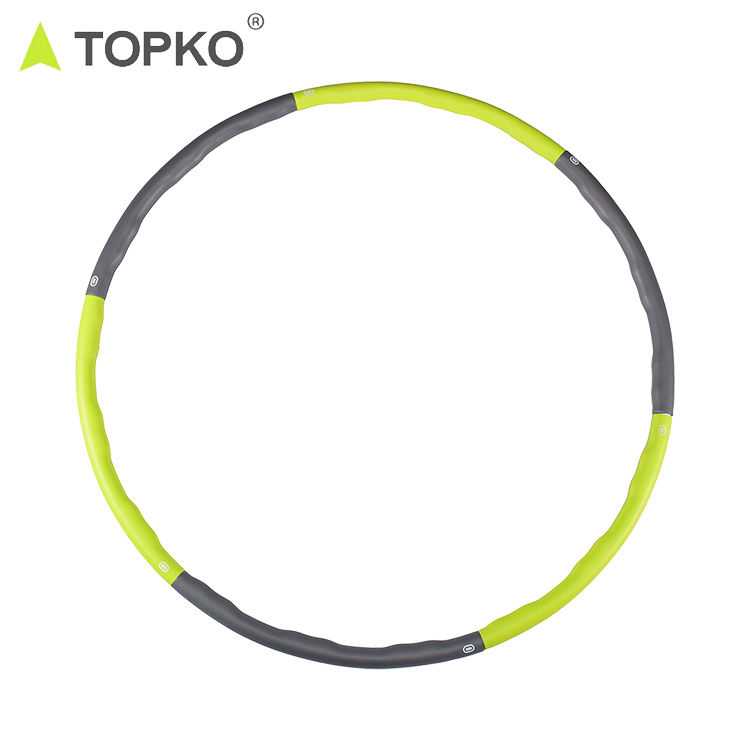 TOPKO wholesale custom logo weight exercise 6 detachable section PP hula ring weighted