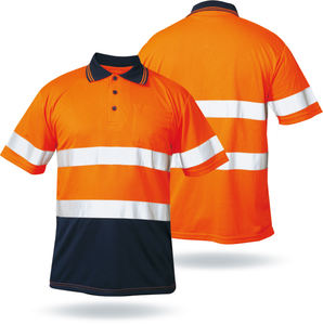EN20471 Custom 100% Polyester Security Reflective Polo Long Sleeve High Visibility Hi Vis Work Safety T Shirt