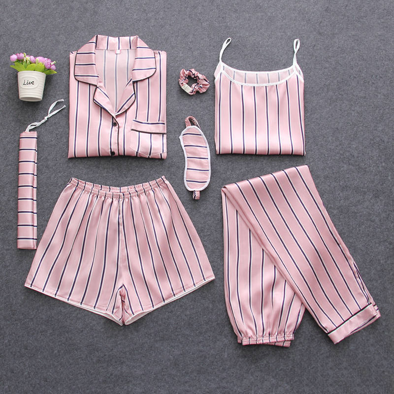 Women'S 7 Pieces Sets Pajamas Silk Emulation Striped Pajamas Women'S Sleepwear Sets Spring Summer Autumn Homewear