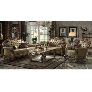 Classic cheap genuine leather living room sofa set
