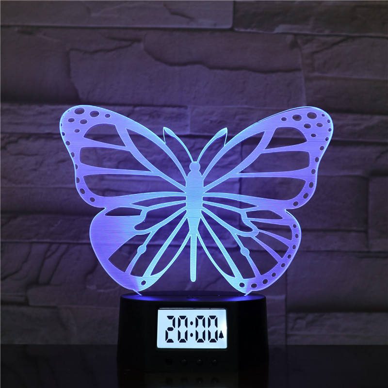 Nuovo Design Eco-Friendly Home Decor Farfalla LED Illusion Lampada 3D Luce di Notte Con La Sveglia