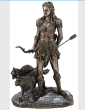 Brave Sitting Girl Sculpture Bronze Statue with Wolf