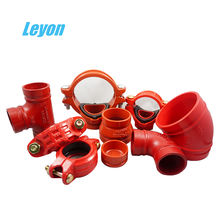 grooved flange iron reducer cast iron outlet fire protective pipe fitting epoxy painting flexible coupling grooved flange elbow