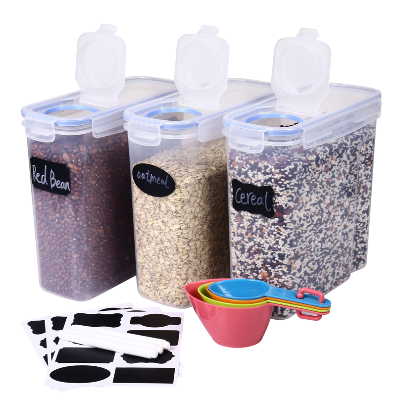 4L(135OZ) 3pack Plastic PP Clear Easy Pour Large Airtight Cereal Food Storage Container Set