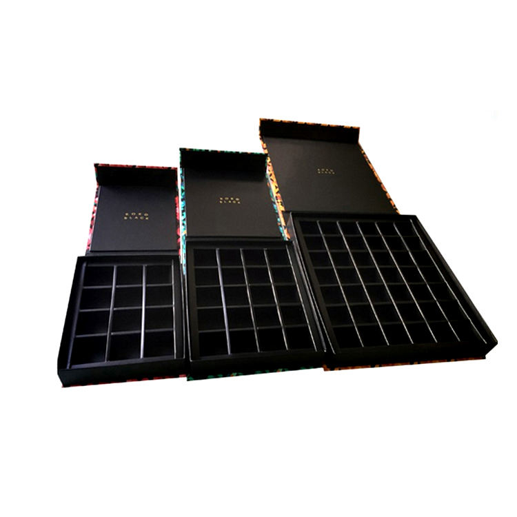 Wholesale Custom Luxury Packaging Black Magnetic Chocolate Box