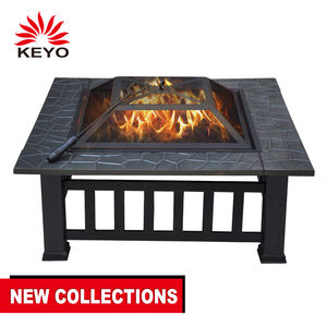 Outdoor Fire pit Metal Firepit Square Table Backyard Patio Garden Stove Wood Burning Fire Pit with Spark Screen