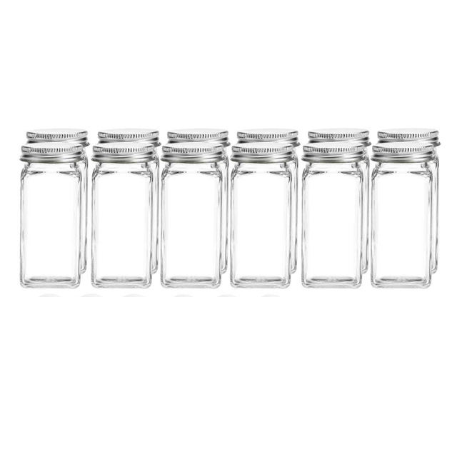 Premium Spice Jar Set -12 Square Glass 4 oz Spice Bottles