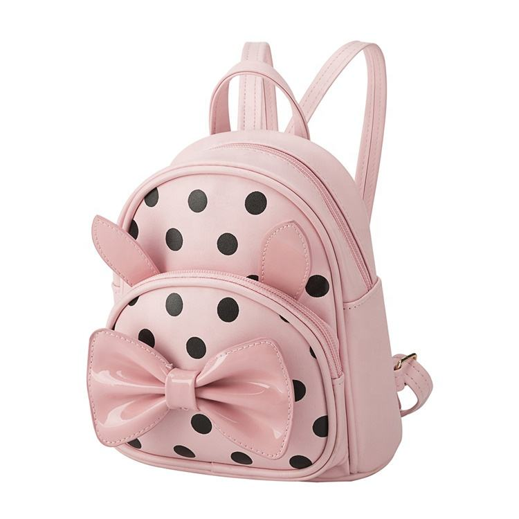 Heopono Nice Bowknot Hot Design Fashionable Wholesale Low MOQ Durable PU Leather Kids Child Infant Cute Girls Backpacks