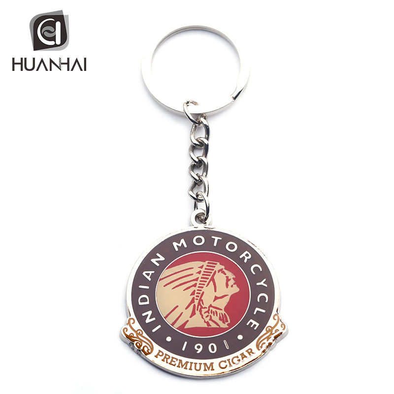 oem enamel logo coated epoxy medal keychain key ring