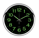 12 Inch Silver Frame Modern Night Wall Clock Glow in The Dark for Bedroom Living Room