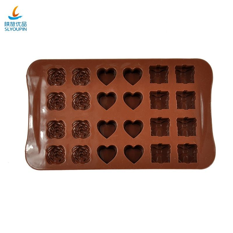safety Multi shape Silicone Handmade DIY Chocolate ice soap mold rose heart gift box shaped