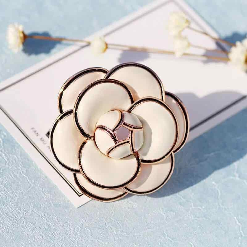 fashional jewelry enamel camellia flower brooch