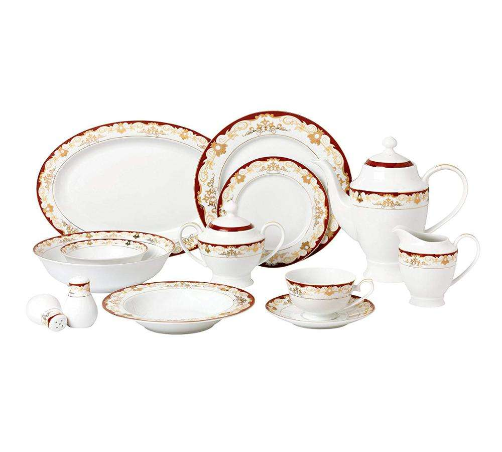 European Style 57 Piece porcelain China Dinnerware Set ,Service for 8 People