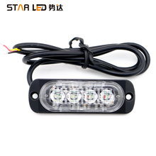 4 led Waterproof LED 12 volt Flasher Warning LED Car motorcycle Strobe Flashing Light