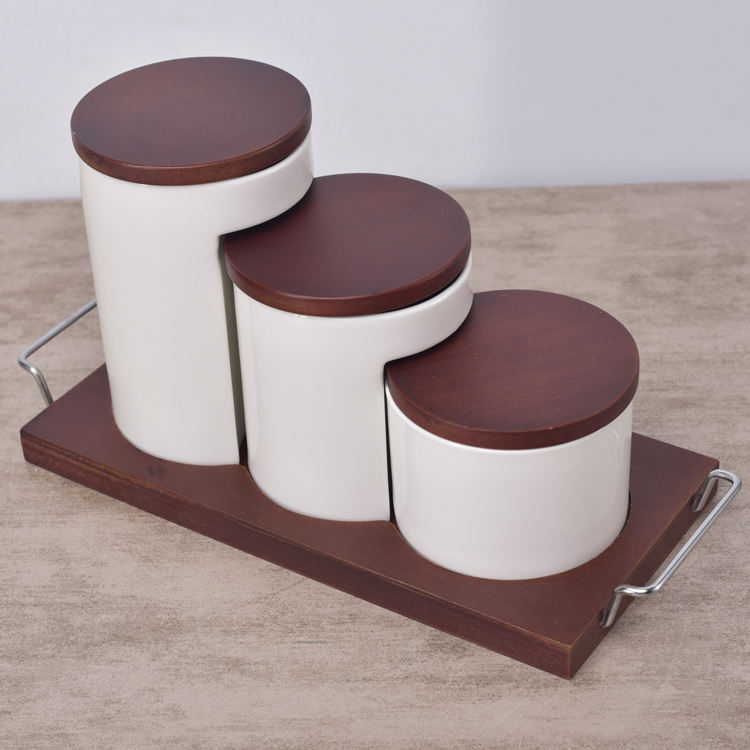 Kitchenware 3 sizes brown kitchen canisters ceramic airtight canister set with wooden tray