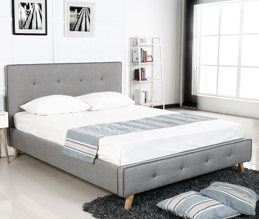 2019 European Style Bazhou Factory Supplied Cheap Queen Size Plywood Upholstered Fabric Bed Frame