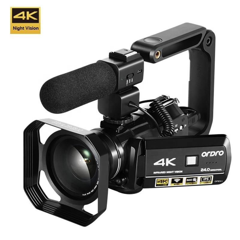 WI-FI 4K K Vídeo Câmera Filmadora Ultra HD 4 ORDRO AC3 30X Zoom Digital Infrared night vision Camera IR com o Controlador Remoto