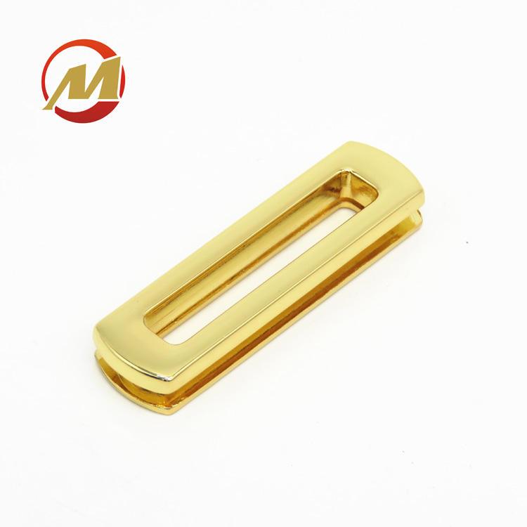 Venta caliente nuevo diseño de buena calidad de aleación de Zinc de rectángulo ojal metálico, cuero y bolsos