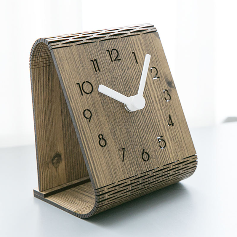 China Manufacturer 3D Digital MDF Square Wall Clock Home Decor Modern Creative Design,Wood Table Clock DIY