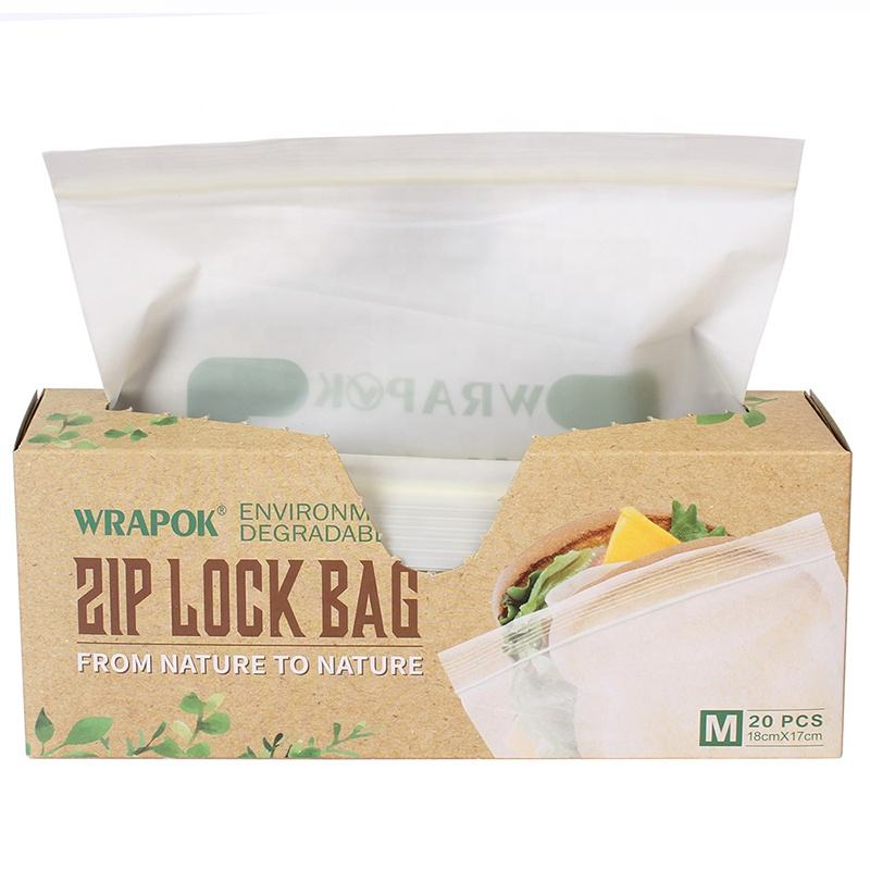 Biodegradable Corn Starch Beige Resealable Compostable Grip Seal Food Bag