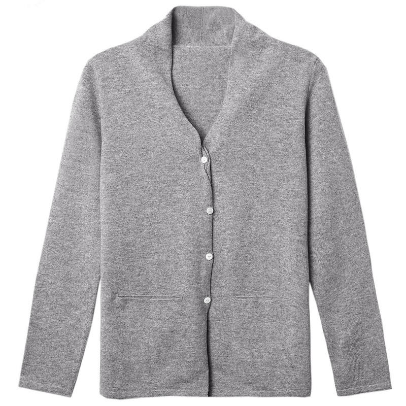 Italian cashmere button cardigan coat knitwear for lady