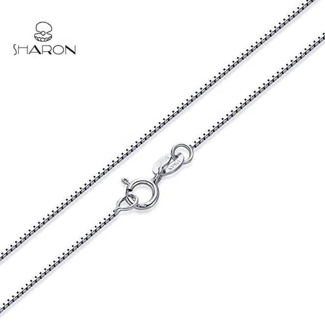 Wholesale 20 Inch S925 Pure Sterling Silver Italy Box Chain Necklace