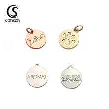 Small brand logo engraved pendant custom metal charm jewelry tags
